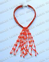 Leather with Tassel in Cut Beads and Coco Heishe