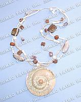 Coco Heishe in Multi-rows with Mixed Components and Shell Pendant