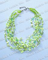 5 Rows white Rose Square Cut Shell with Pearlized Beads