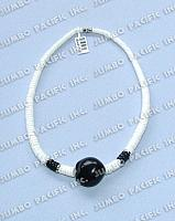 Graduated White Shell Heishe with Lumbang Pendant