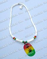 White Shell Heishe with Painted Capiz Pendant